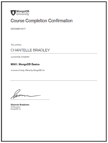 MongoDB Basics - Completion Certificate