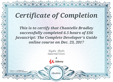 ES6 Complete Guide - Completion Certificate